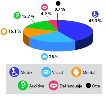 El 45.3% de la población tiene discapacidad motriz, el 26% visual, el 16.1% mental, el 15.7% auditiva, el 4.9% del lenguaje, y el 0.7% de otro tipo.